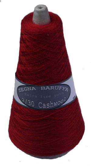 Cherry red Zegna Baruffa Cashwool 2/30s 1ply cobweb laceweight yarn 100g cone