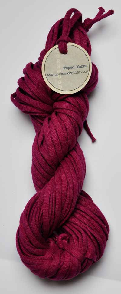 cerise Chunky Tape yarn for knitting weaving and embellishing