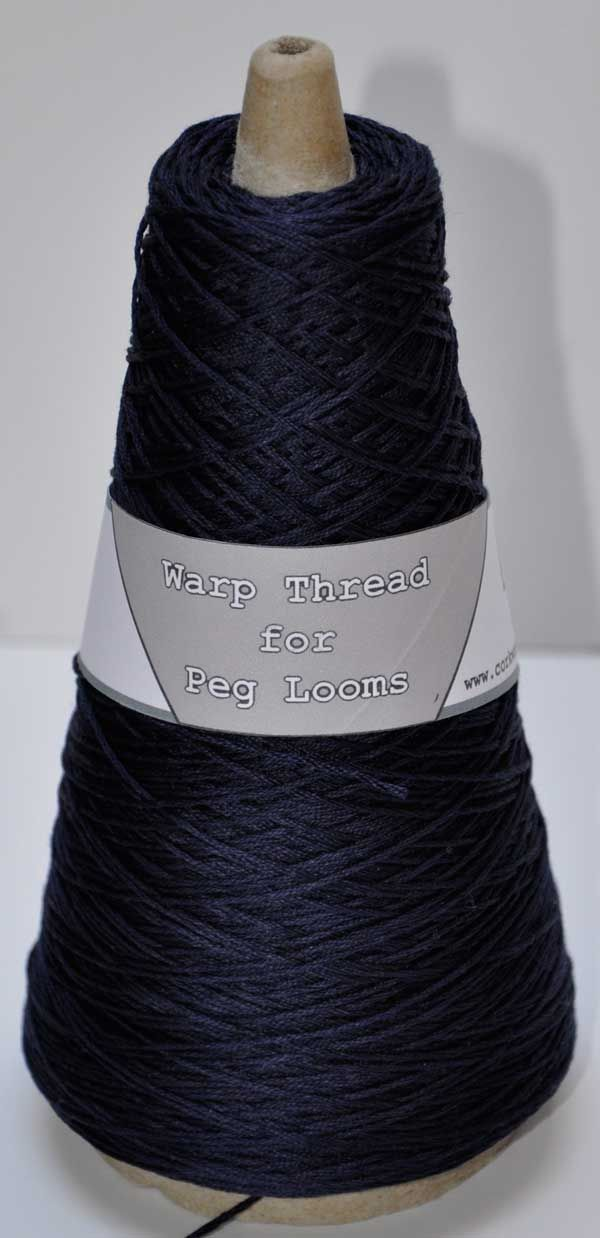 Navy blue extra strong 4ply warp thread for peg loom weaving 100g