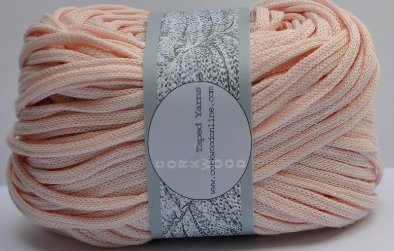 Pale Pink cotton Chunky Tape yarn for knitting weaving and embellishing
